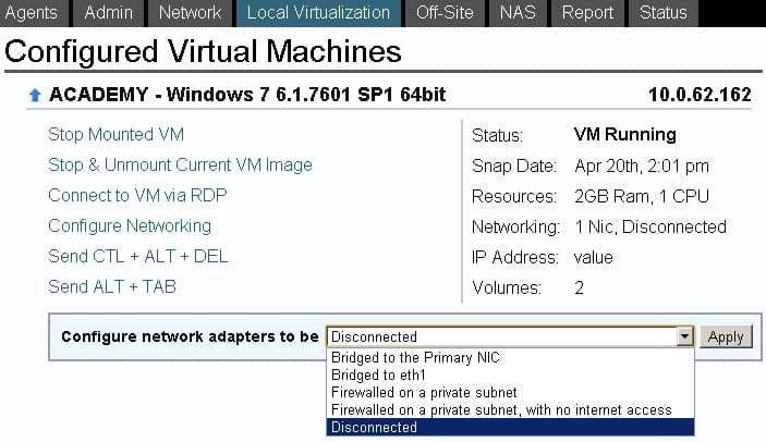 Configure Networking Type of Virtual Machine on Datto SIRIS