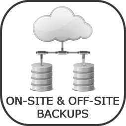 on-site and off-site backups