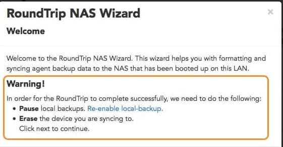 NAS Roundtrip for Datto SIRIS 2