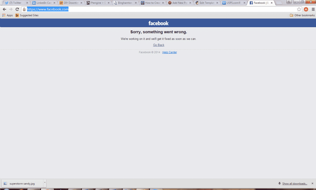 facebook down invenio it