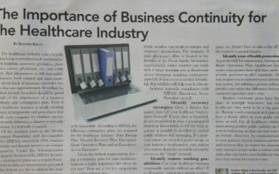 Business continuity standard in healthcare is extremely high