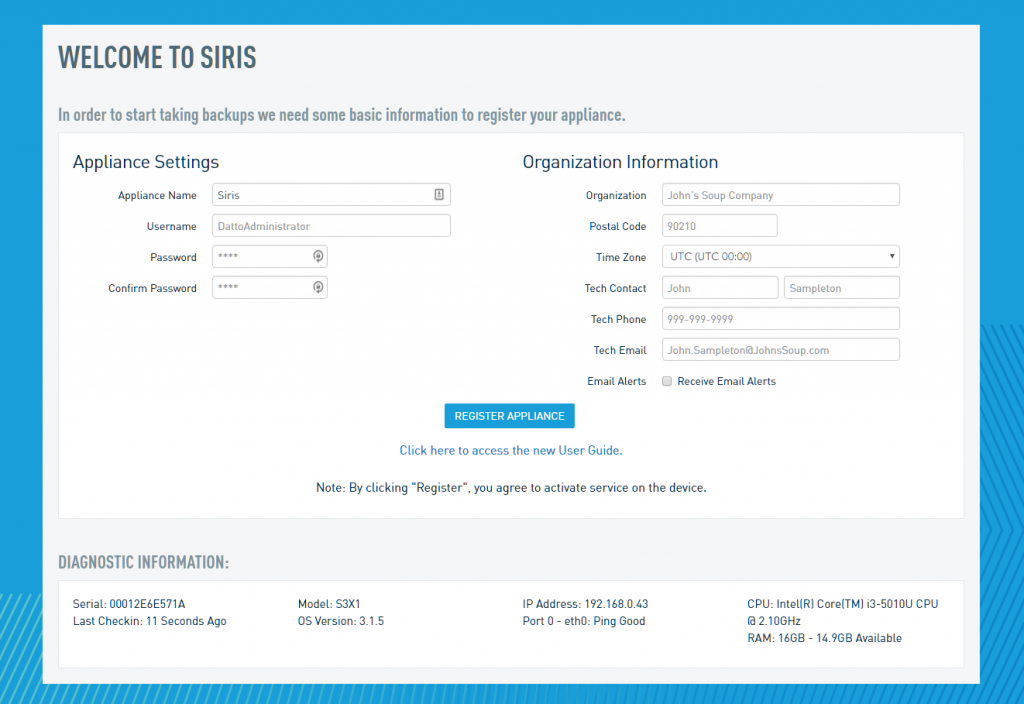 register datto siris 3 x1