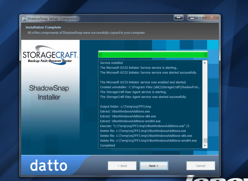 datto shadownap installation