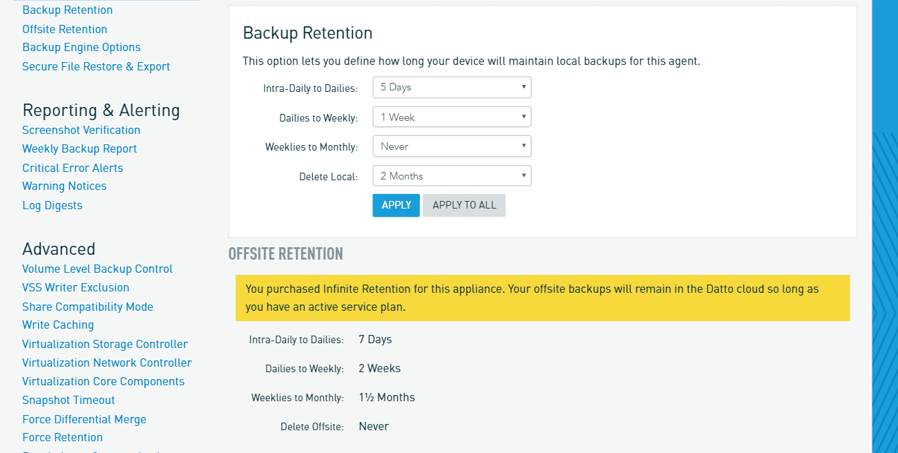 datto backup retention